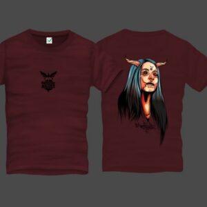 Girl With Horns Men Back Print T-Shirt