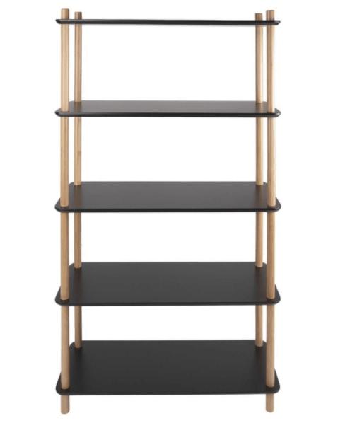 Ραφιέρα / Βιβλιοθήκη Simplicity Bamboo (Μαύρο / Φυσικό) - Leitmotiv
