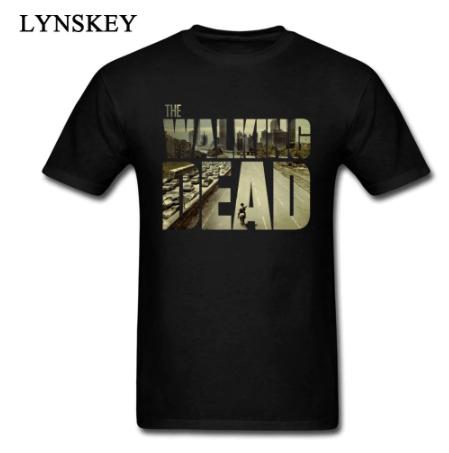 The Walking Dead Funky T-shirt Man's Short Sleeve Cotton Teeshirt Customized Boyfriend's Top Cool Black