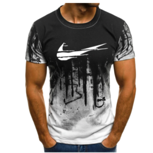 2021 Letter Printed Summer Men's Fitness Printed Camouflage T-shirt Short-sleeved Shirt Round Neck Fashion Casual Top