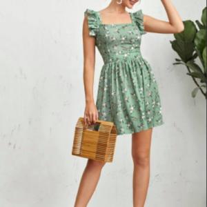 Φόρεμα Blackberry Πράσινο ανοιχτή πλάτη βολανάκι
