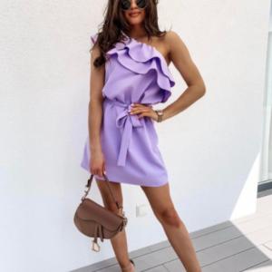 Φόρεμα Brooklyn Λιλά ζωνάκι ίδιο ύφασμα